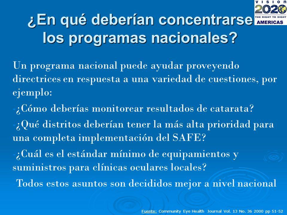 Un programa nacional puede ayudar proveyendo directrices en respuesta a una variedad de cuestiones, por ejemplo: -¿Cómo deberías monitorear resultados de catarata.