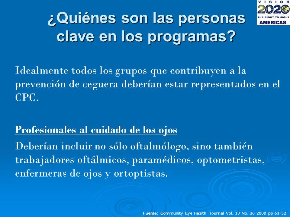 ¿Quiénes son las personas clave en los programas.