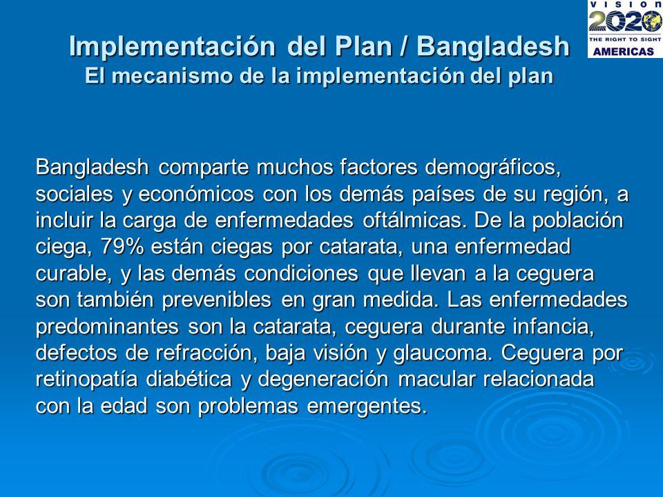 Implementación del Plan / Bangladesh El mecanismo de la implementación del plan Bangladesh comparte muchos factores demográficos, sociales y económicos con los demás países de su región, a incluir la carga de enfermedades oftálmicas.