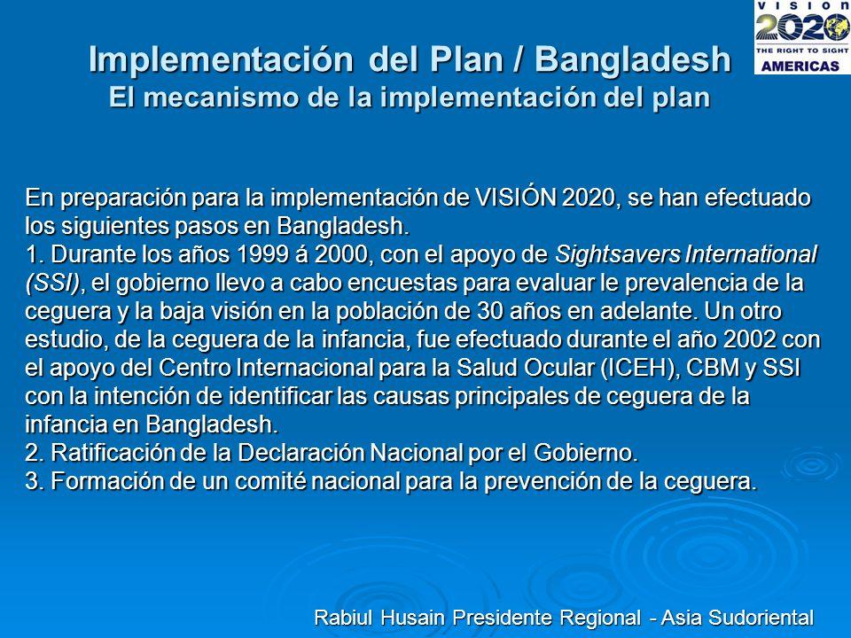 Implementación del Plan / Bangladesh El mecanismo de la implementación del plan En preparación para la implementación de VISIÓN 2020, se han efectuado los siguientes pasos en Bangladesh.