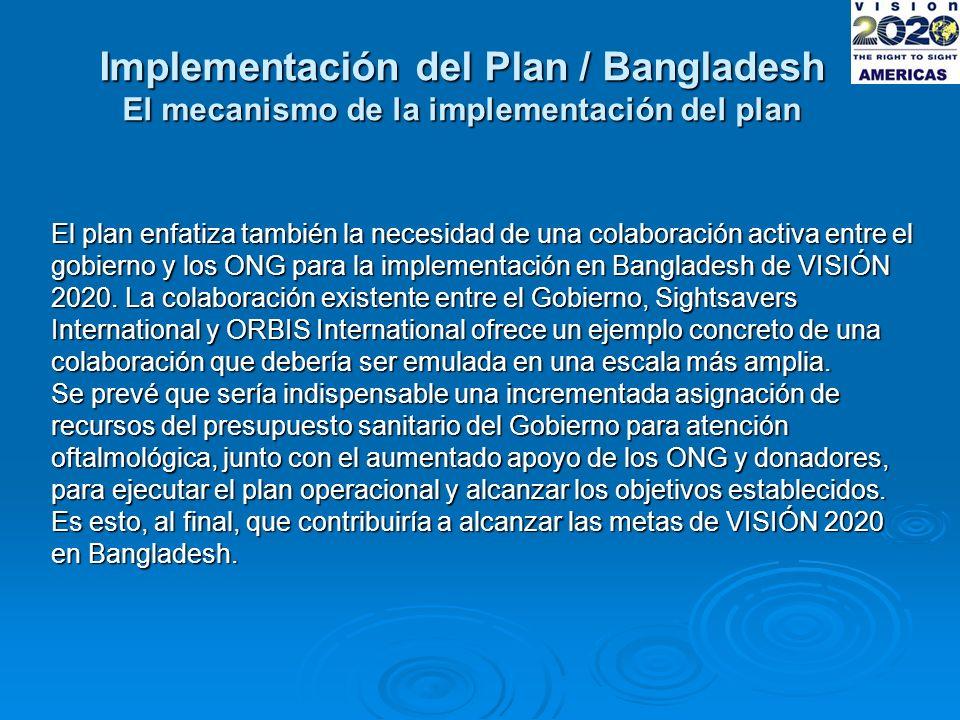 Implementación del Plan / Bangladesh El mecanismo de la implementación del plan El plan enfatiza también la necesidad de una colaboración activa entre el gobierno y los ONG para la implementación en Bangladesh de VISIÓN 2020.