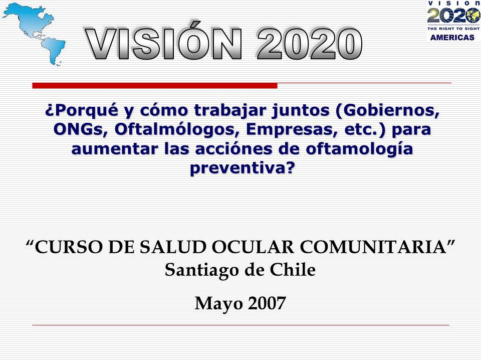 ¿Porqué y cómo trabajar juntos (Gobiernos, ONGs, Oftalmólogos, Empresas, etc.) para aumentar las acciónes de oftamología preventiva.
