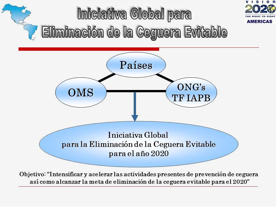 Iniciativa Global para la Eliminación de la Ceguera Evitable para el año 2020 ONGs TF IAPB OMS Países Objetivo: Intensificar y acelerar las actividades presentes de prevención de ceguera así como alcanzar la meta de eliminación de la ceguera evitable para el 2020