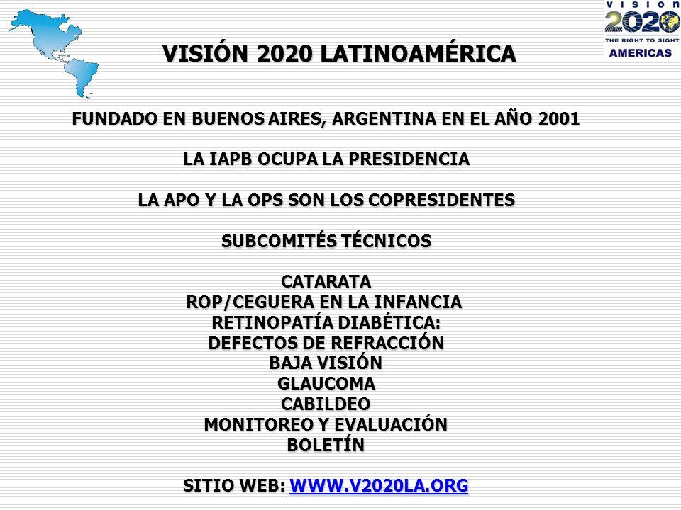 FUNDADO EN BUENOS AIRES, ARGENTINA EN EL AÑO 2001 LA IAPB OCUPA LA PRESIDENCIA LA APO Y LA OPS SON LOS COPRESIDENTES SUBCOMITÉS TÉCNICOS CATARATA ROP/CEGUERA EN LA INFANCIA RETINOPATÍA DIABÉTICA: DEFECTOS DE REFRACCIÓN BAJA VISIÓN GLAUCOMACABILDEO MONITOREO Y EVALUACIÓN BOLETÍN SITIO WEB: W W W.V2020LA.ORG VISIÓN 2020 LATINOAMÉRICA