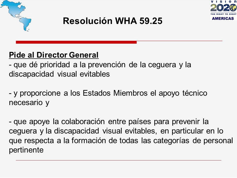 Resolución WHA 59.25 Pide al Director General - que dé prioridad a la prevención de la ceguera y la discapacidad visual evitables - y proporcione a los Estados Miembros el apoyo técnico necesario y - que apoye la colaboración entre países para prevenir la ceguera y la discapacidad visual evitables, en particular en lo que respecta a la formación de todas las categorías de personal pertinente