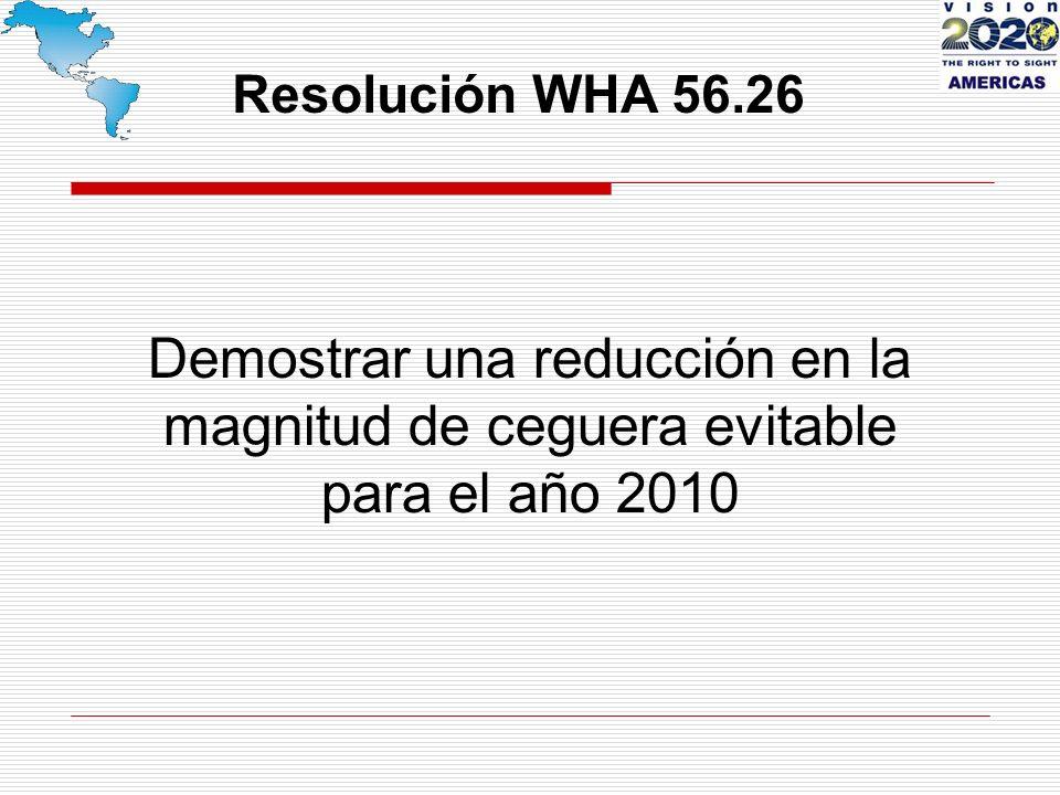Demostrar una reducción en la magnitud de ceguera evitable para el año 2010 Resolución WHA 56.26