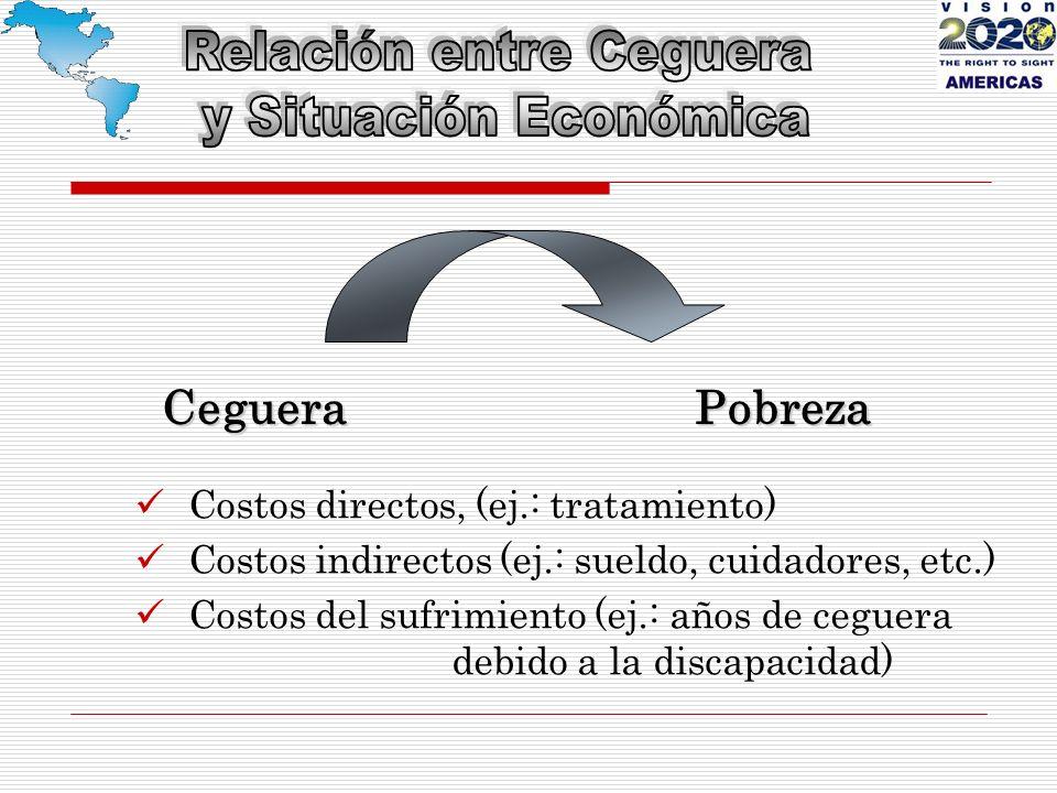 CegueraPobreza Costos directos, (ej.: tratamiento) Costos indirectos (ej.: sueldo, cuidadores, etc.) Costos del sufrimiento (ej.: años de ceguera debido a la discapacidad)