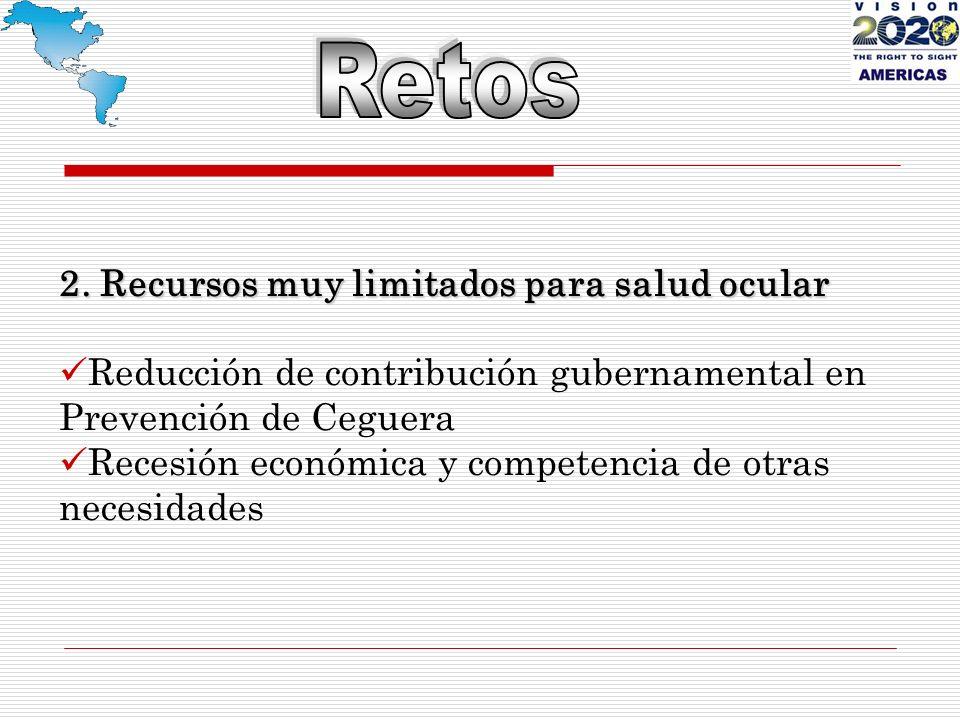 2. Recursos muy limitados para salud ocular Reducción de contribución gubernamental en Prevención de Ceguera Recesión económica y competencia de otras