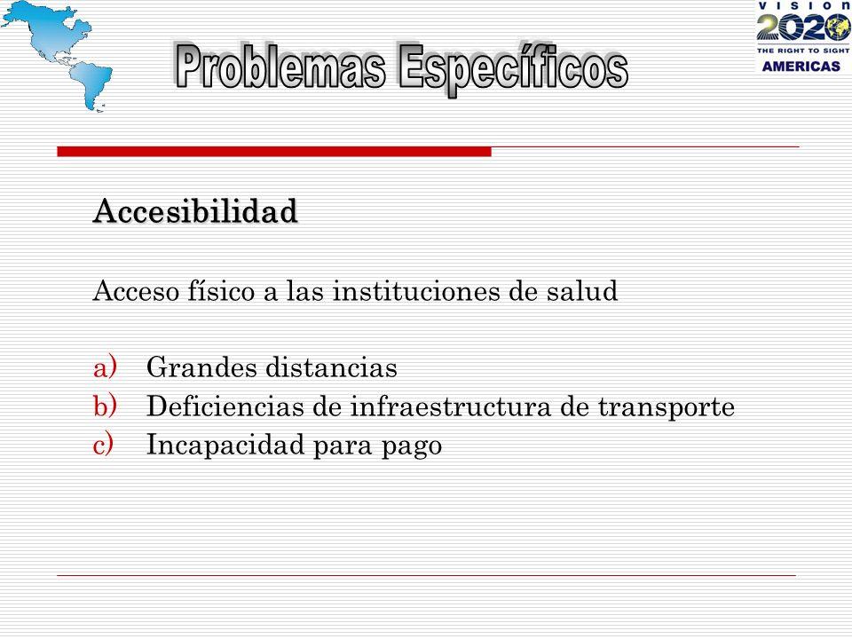 Accesibilidad Acceso físico a las instituciones de salud a)Grandes distancias b)Deficiencias de infraestructura de transporte c)Incapacidad para pago