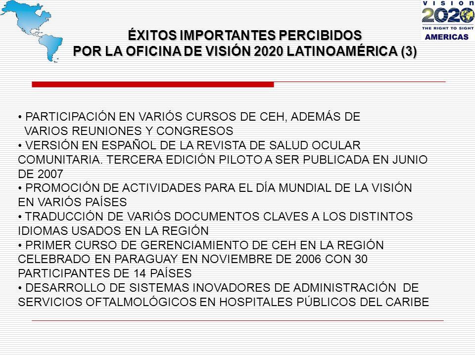 PARTICIPACIÓN EN VARIÓS CURSOS DE CEH, ADEMÁS DE VARIOS REUNIONES Y CONGRESOS VERSIÓN EN ESPAÑOL DE LA REVISTA DE SALUD OCULAR COMUNITARIA.