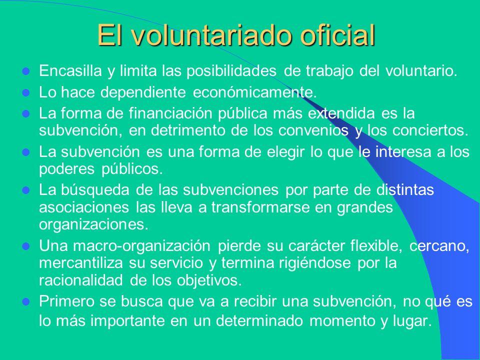 Tres modas del voluntariado El voluntariado oficial El voluntariado estético El voluntariado postmoderno