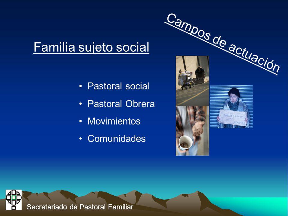 Secretariado de Pastoral Familiar Campos de actuación Familia sujeto social Pastoral social Pastoral Obrera Movimientos Comunidades