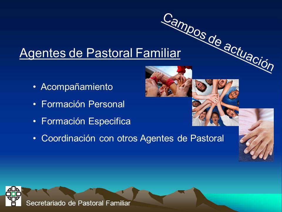 Secretariado de Pastoral Familiar Campos de actuación Agentes de Pastoral Familiar Acompañamiento Formación Personal Formación Especifica Coordinación con otros Agentes de Pastoral
