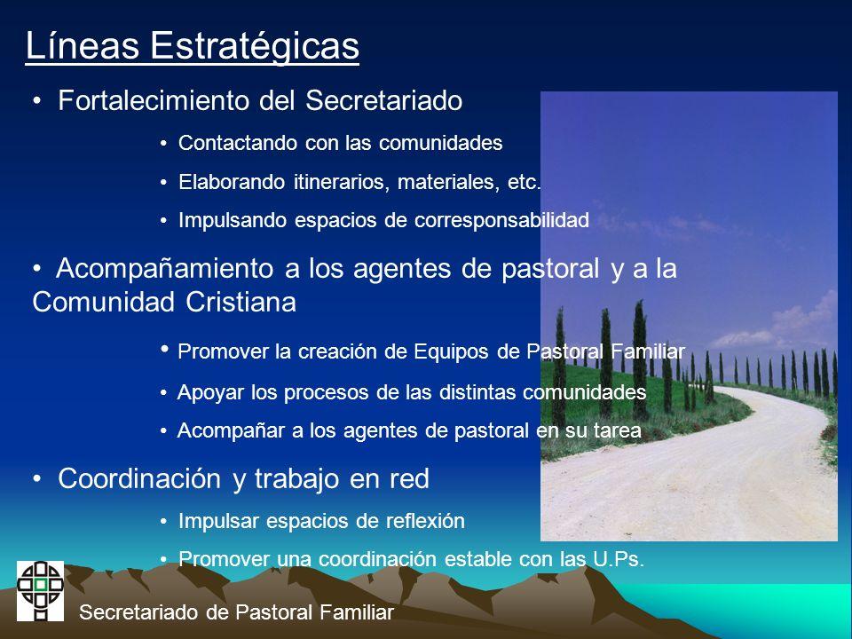 Secretariado de Pastoral Familiar Líneas Estratégicas Fortalecimiento del Secretariado Contactando con las comunidades Elaborando itinerarios, materiales, etc.