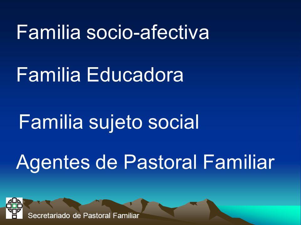 Familia socio-afectiva Familia Educadora Familia sujeto social Agentes de Pastoral Familiar