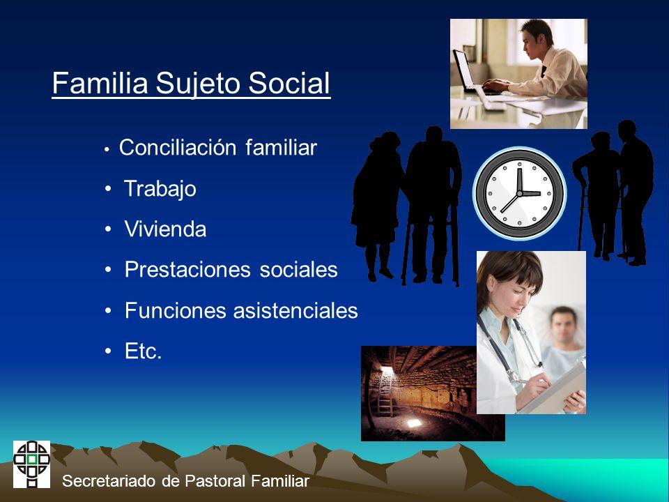 Secretariado de Pastoral Familiar Familia Sujeto Social Conciliación familiar Trabajo Vivienda Prestaciones sociales Funciones asistenciales Etc.