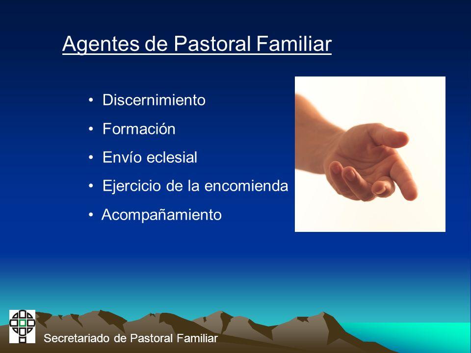 Secretariado de Pastoral Familiar Agentes de Pastoral Familiar Discernimiento Formación Envío eclesial Ejercicio de la encomienda Acompañamiento