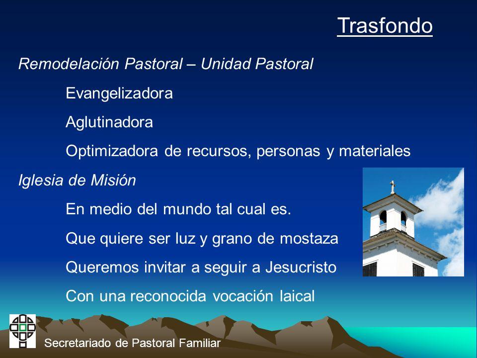 Secretariado de Pastoral Familiar Trasfondo Remodelación Pastoral – Unidad Pastoral Evangelizadora Aglutinadora Optimizadora de recursos, personas y materiales Iglesia de Misión En medio del mundo tal cual es.