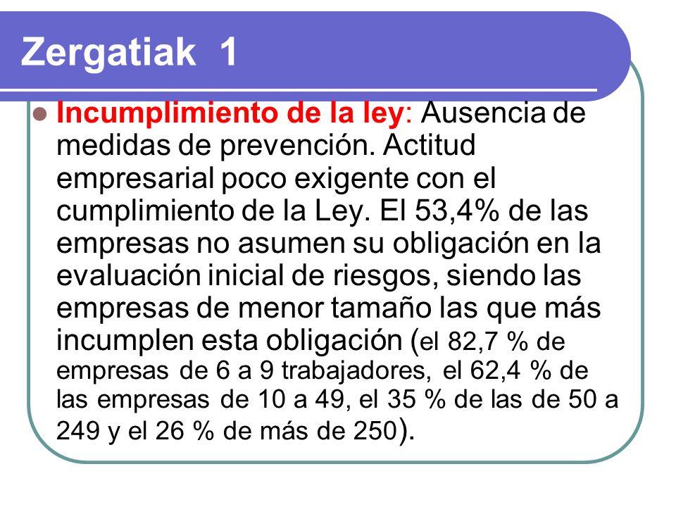 Zergatiak 1 Incumplimiento de la ley: Ausencia de medidas de prevención.