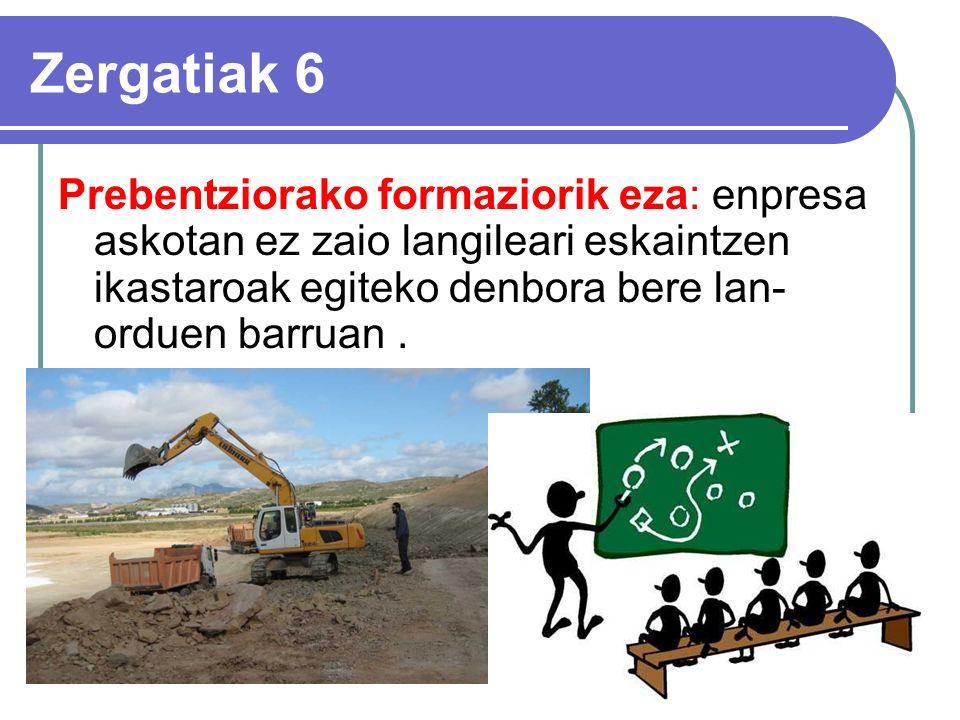 Zergatiak 6 Prebentziorako formaziorik eza: enpresa askotan ez zaio langileari eskaintzen ikastaroak egiteko denbora bere lan- orduen barruan.