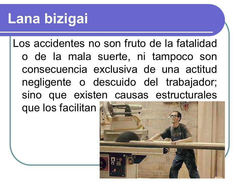 Los accidentes no son fruto de la fatalidad o de la mala suerte, ni tampoco son consecuencia exclusiva de una actitud negligente o descuido del trabajador; sino que existen causas estructurales que los facilitan
