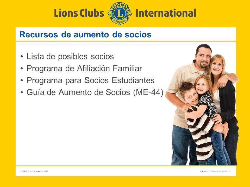 LIONS CLUBS INTERNATIONAL PROCESO CLUB EXCELENTE 11 Recursos de aumento de socios Lista de posibles socios Programa de Afiliación Familiar Programa pa