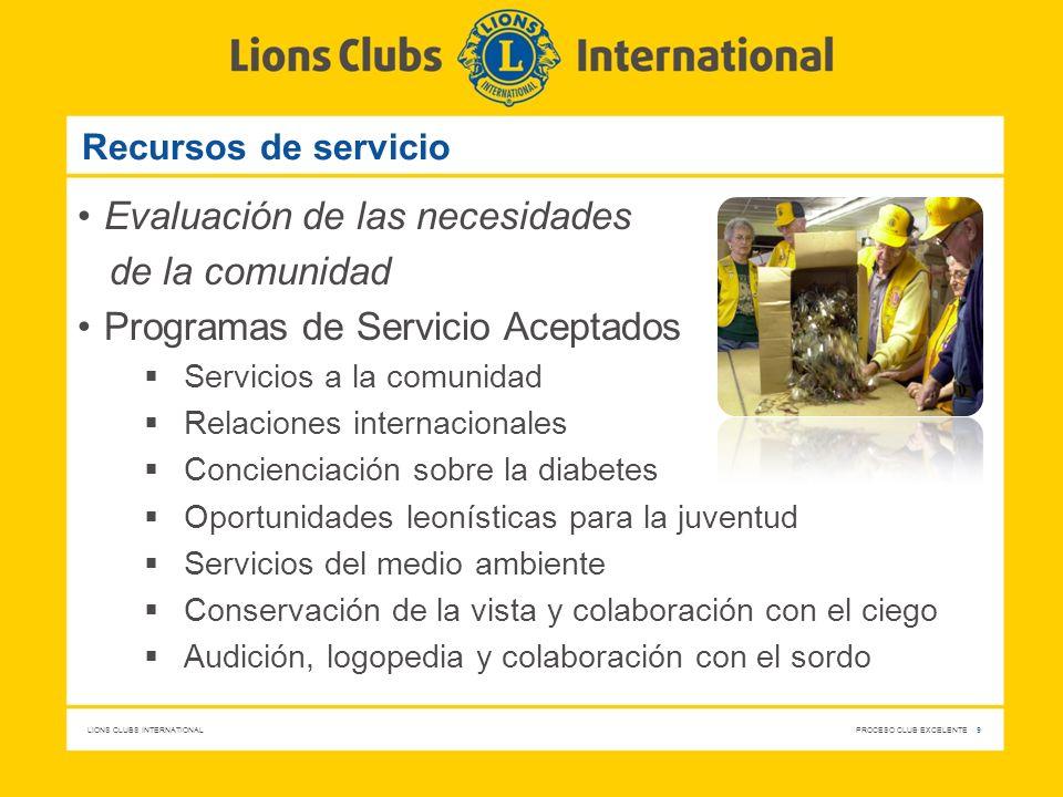 LIONS CLUBS INTERNATIONAL PROCESO CLUB EXCELENTE 9 Recursos de servicio Evaluación de las necesidades de la comunidad Programas de Servicio Aceptados