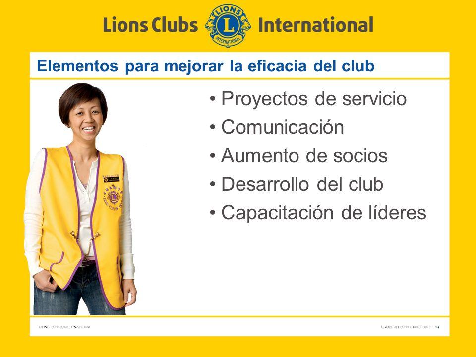 LIONS CLUBS INTERNATIONAL PROCESO CLUB EXCELENTE 14 Elementos para mejorar la eficacia del club Proyectos de servicio Comunicación Aumento de socios D