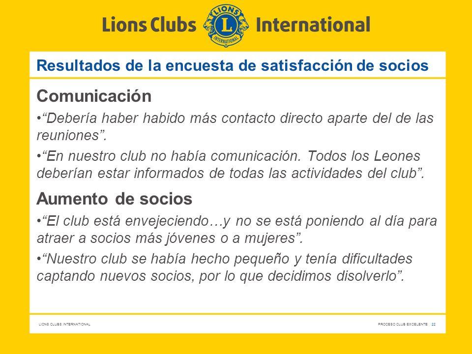 LIONS CLUBS INTERNATIONAL PROCESO CLUB EXCELENTE 22 Resultados de la encuesta de satisfacción de socios Comunicación Debería haber habido más contacto