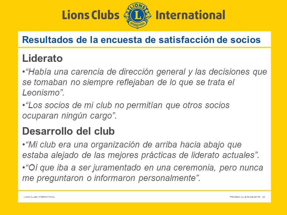 LIONS CLUBS INTERNATIONAL PROCESO CLUB EXCELENTE 23 Resultados de la encuesta de satisfacción de socios Liderato Había una carencia de dirección gener