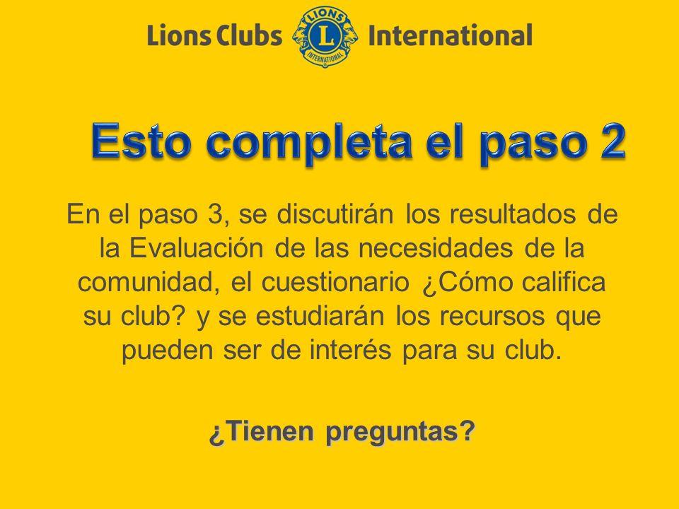 En el paso 3, se discutirán los resultados de la Evaluación de las necesidades de la comunidad, el cuestionario ¿Cómo califica su club? y se estudiará