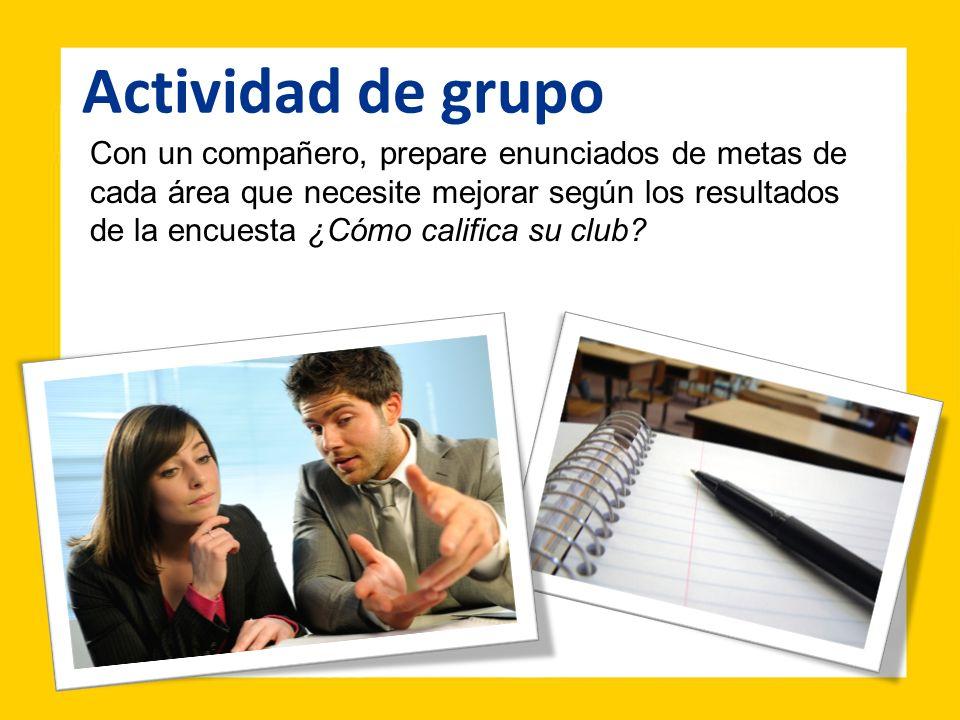 Con un compañero, prepare enunciados de metas de cada área que necesite mejorar según los resultados de la encuesta ¿Cómo califica su club? Actividad