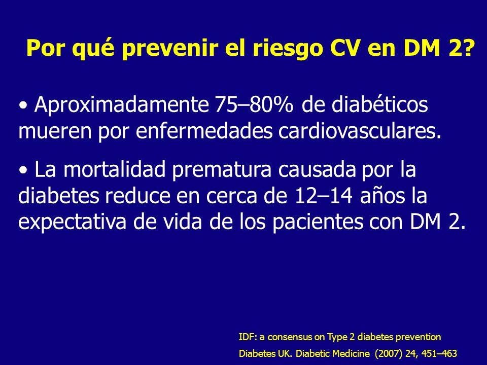 Por qué prevenir el riesgo CV en DM 2? Aproximadamente 75–80% de diabéticos mueren por enfermedades cardiovasculares. La mortalidad prematura causada