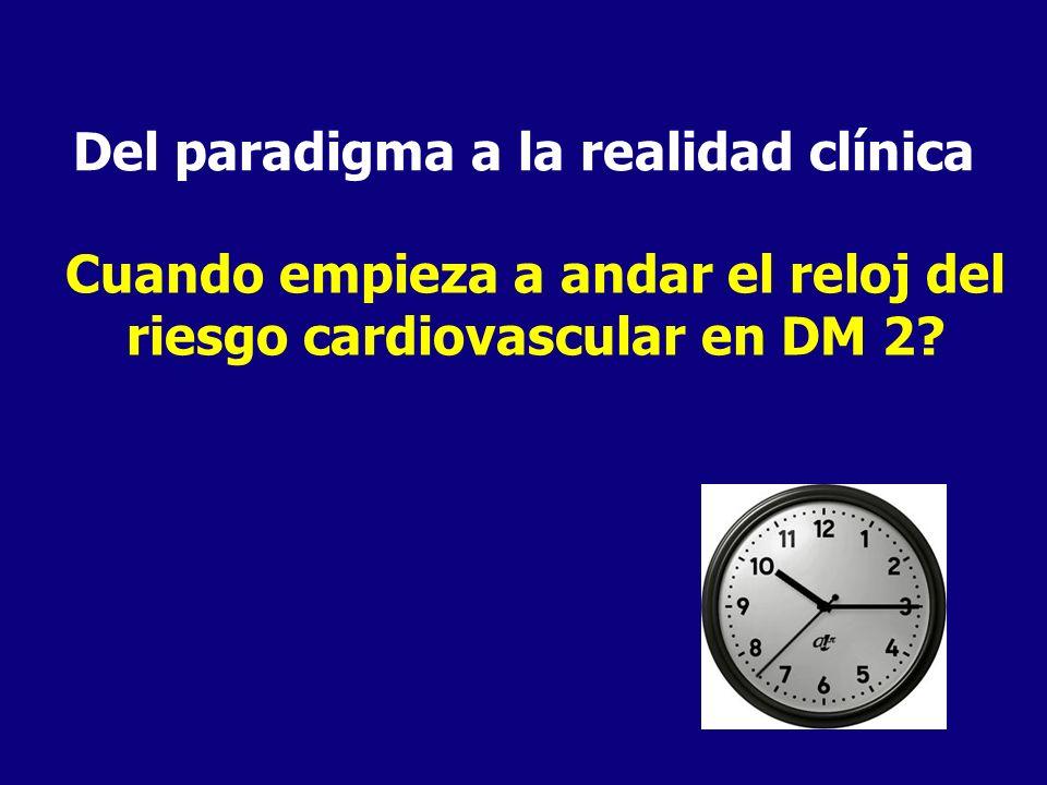Del paradigma a la realidad clínica Cuando empieza a andar el reloj del riesgo cardiovascular en DM 2?