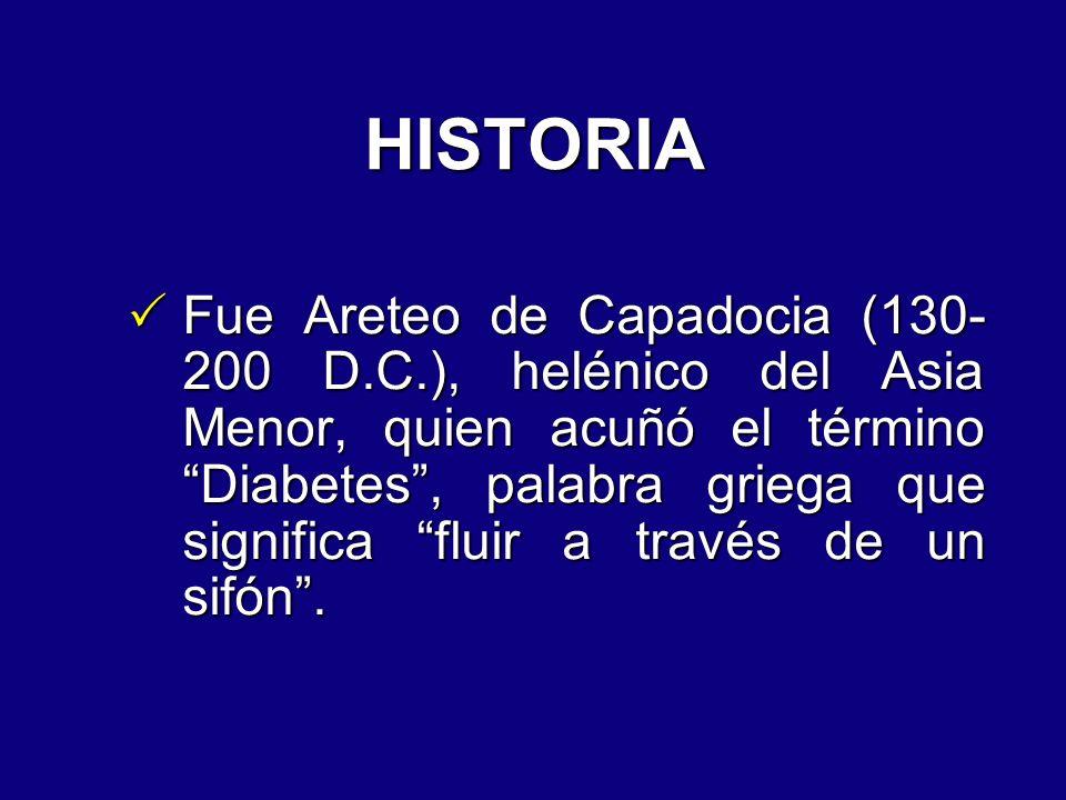 HISTORIA Fue Areteo de Capadocia (130- 200 D.C.), helénico del Asia Menor, quien acuñó el término Diabetes, palabra griega que significa fluir a travé