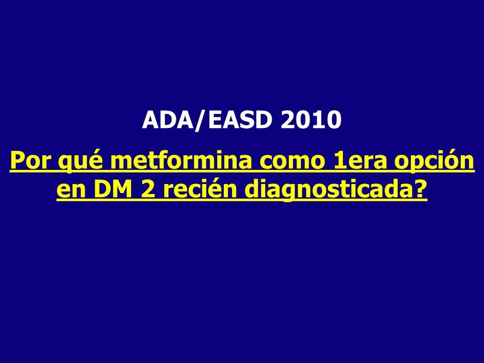 ADA/EASD 2010 Por qué metformina como 1era opción en DM 2 recién diagnosticada?