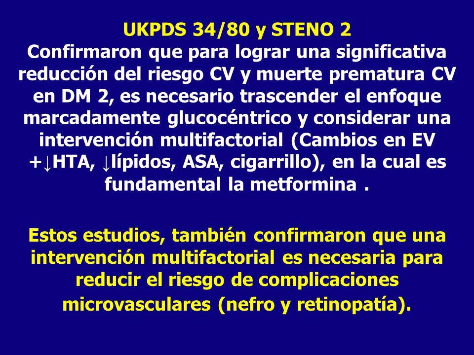 UKPDS 34/80 y STENO 2 Confirmaron que para lograr una significativa reducción del riesgo CV y muerte prematura CV en DM 2, es necesario trascender el