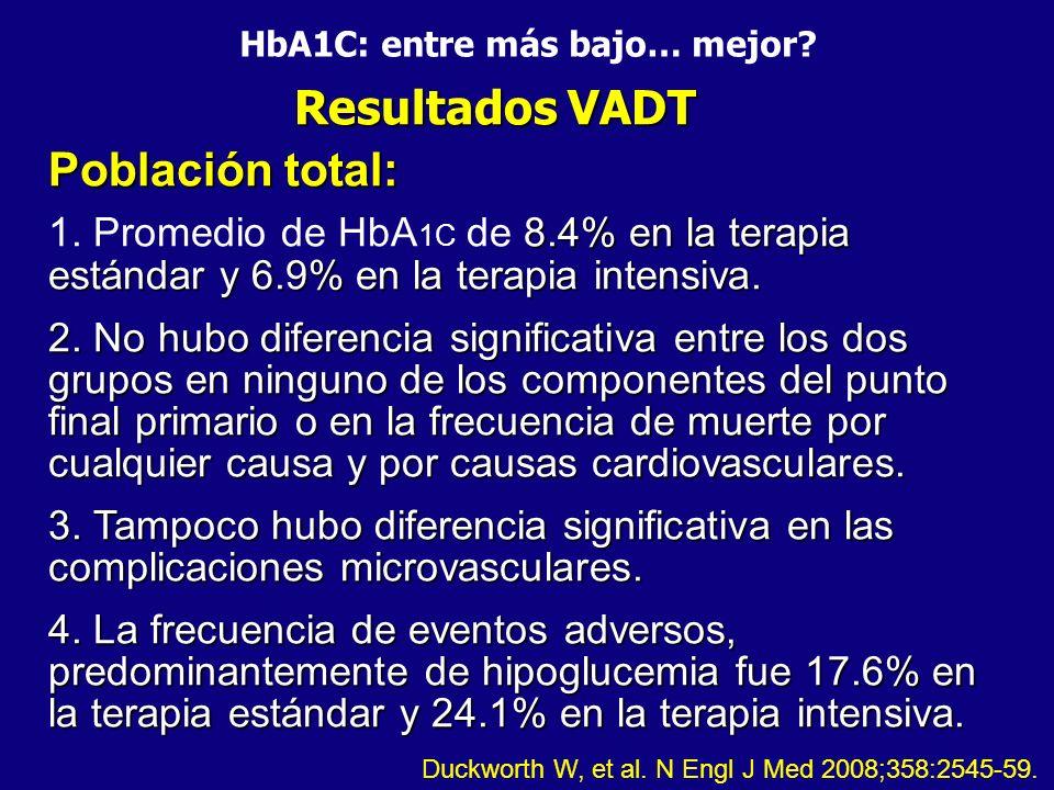 HbA1C: entre más bajo… mejor? Resultados VADT Población total: 8.4% en la terapia estándar y 6.9% en la terapia intensiva. 2. No hubo diferencia signi