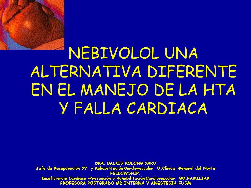NEBIVOLOL UNA ALTERNATIVA DIFERENTE EN EL MANEJO DE LA HTA Y FALLA CARDIACA DRA. BALKIS ROLONG CARO Jefe de Recuperación CV y Rehabilitación Cardiovas