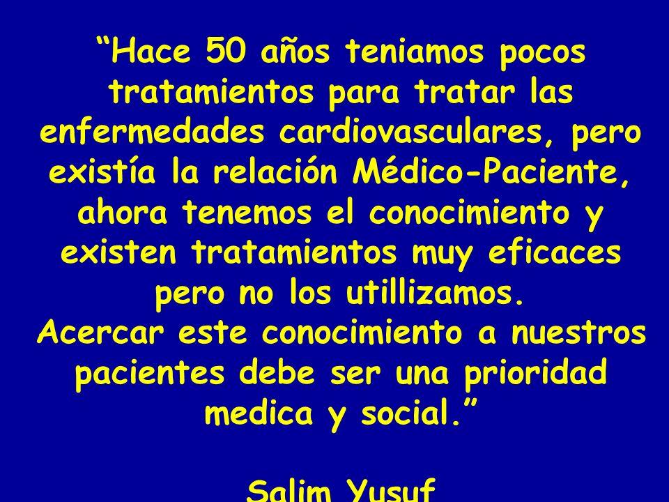 Hace 50 años teniamos pocos tratamientos para tratar las enfermedades cardiovasculares, pero existía la relación Médico-Paciente, ahora tenemos el con