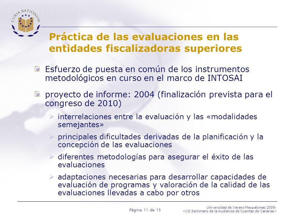 Página 11 de 15 Universidad de Verano Maspalomas 2009: «VII Seminario de la Audiencia de Cuentas de Canarias» Práctica de las evaluaciones en las entidades fiscalizadoras superiores Esfuerzo de puesta en común de los instrumentos metodológicos en curso en el marco de INTOSAI proyecto de informe: 2004 (finalización prevista para el congreso de 2010) interrelaciones entre la evaluación y las «modalidades semejantes» principales dificultades derivadas de la planificación y la concepción de las evaluaciones diferentes metodologías para asegurar el éxito de las evaluaciones adaptaciones necesarias para desarrollar capacidades de evaluación de programas y valoración de la calidad de las evaluaciones llevadas a cabo por otros