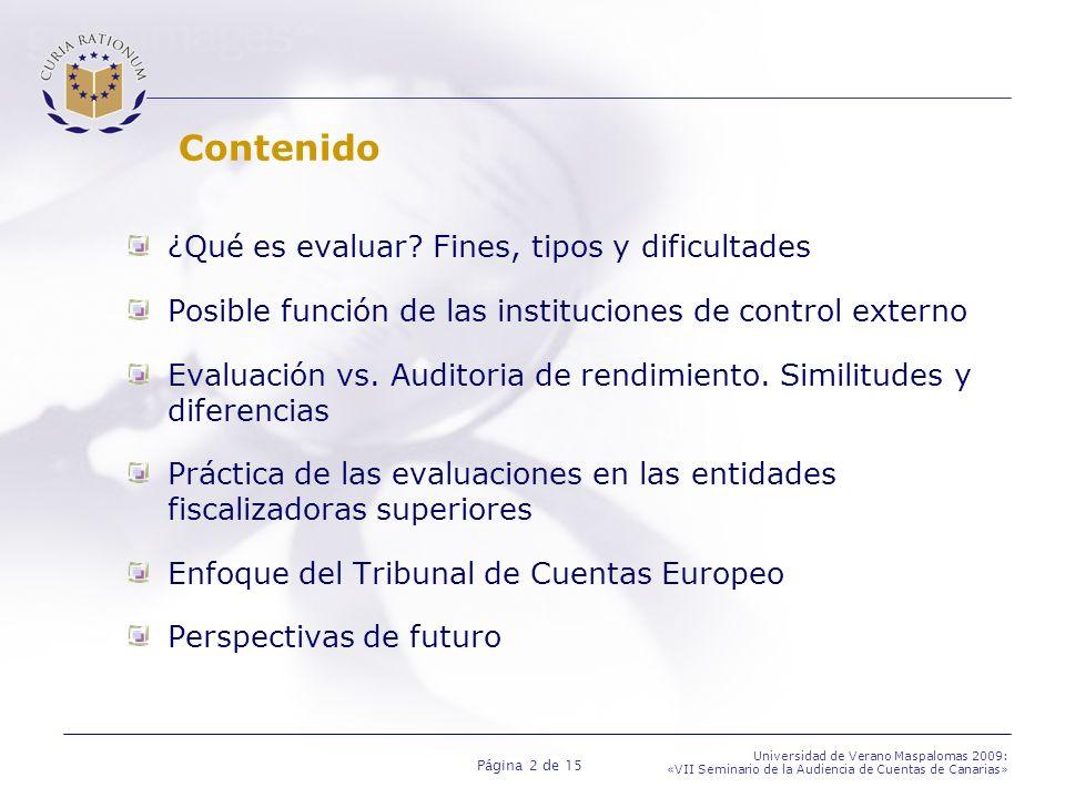 Página 13 de 15 Universidad de Verano Maspalomas 2009: «VII Seminario de la Audiencia de Cuentas de Canarias» Enfoque del Tribunal de Cuentas Europeo Actuaciones del Tribunal: Analizar evaluaciones individuales financiadas por la Comisión Informe especial 10/2006 sobre la Evaluaciones ex-post de los Fondos Estructurales Valorar la calidad de los sistemas aplicados por la Comisión en sus evaluaciones Informe especial 9/2007 sobre la Evaluación de los programas marco de investigación y de desarrollo tecnológico de la UE Publicación de Directrices sobre evaluación Ayudar a los auditores a utilizar la información derivada de las evaluaciones en las auditorias de gestión Programar auditorias sobre evaluaciones o sistemas de evaluación