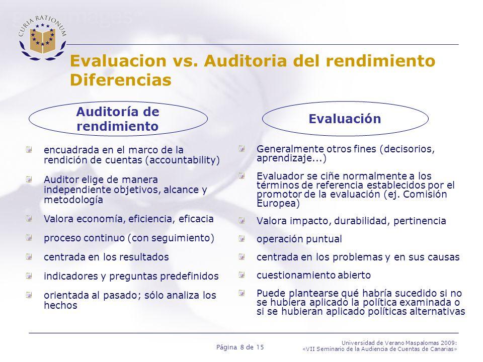 Página 8 de 15 Universidad de Verano Maspalomas 2009: «VII Seminario de la Audiencia de Cuentas de Canarias» Evaluacion vs. Auditoria del rendimiento