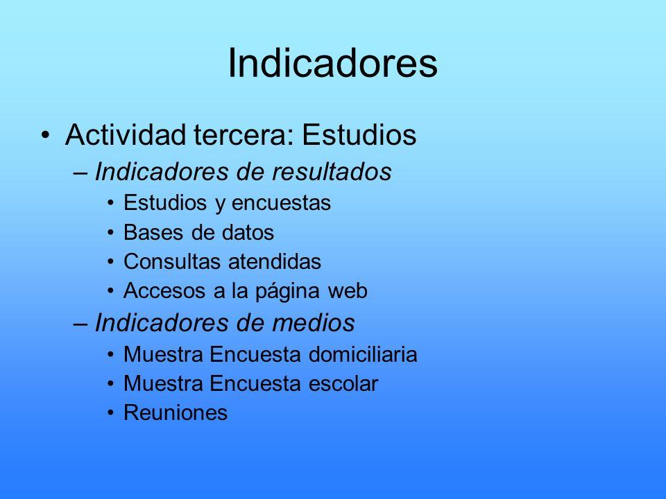 Indicadores Actividad tercera: Estudios –Indicadores de resultados Estudios y encuestas Bases de datos Consultas atendidas Accesos a la página web –In