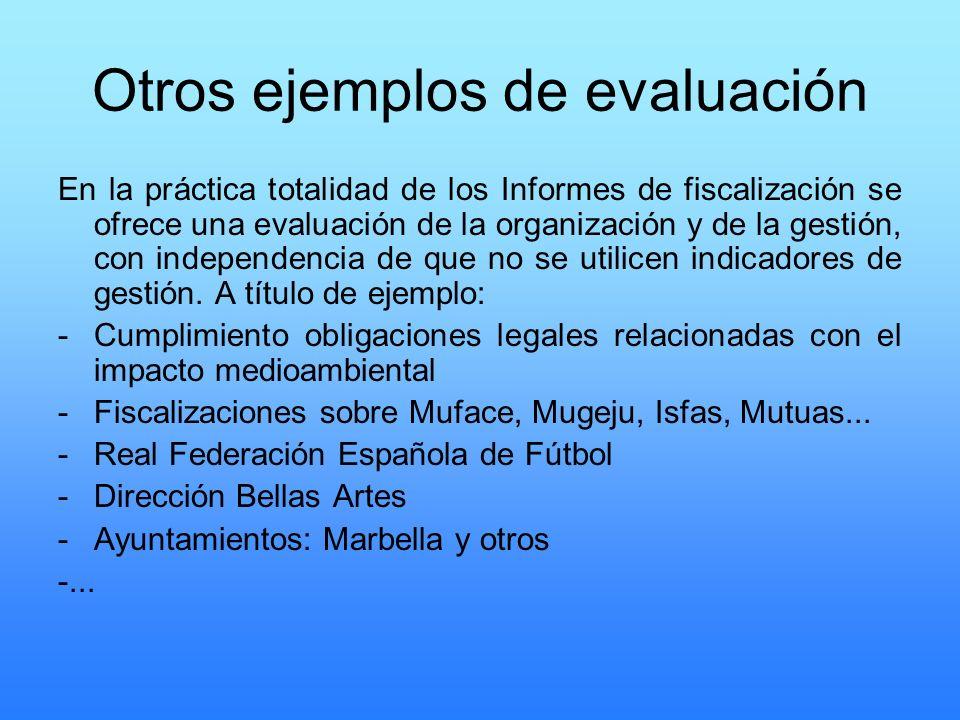 Otros ejemplos de evaluación En la práctica totalidad de los Informes de fiscalización se ofrece una evaluación de la organización y de la gestión, co