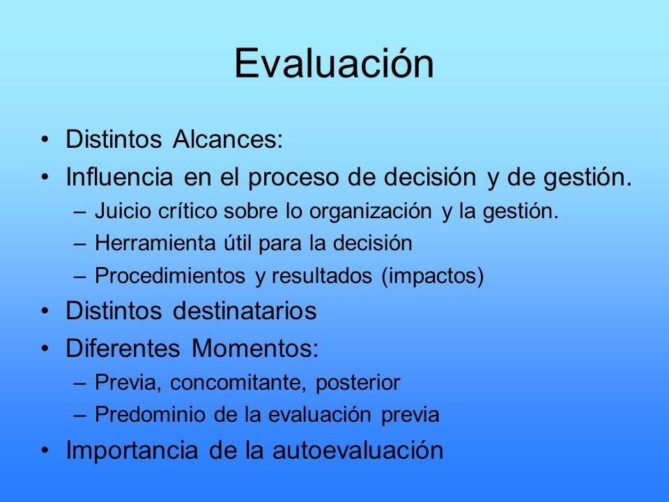 Evaluación Distintos Alcances: Influencia en el proceso de decisión y de gestión. –Juicio crítico sobre lo organización y la gestión. –Herramienta úti