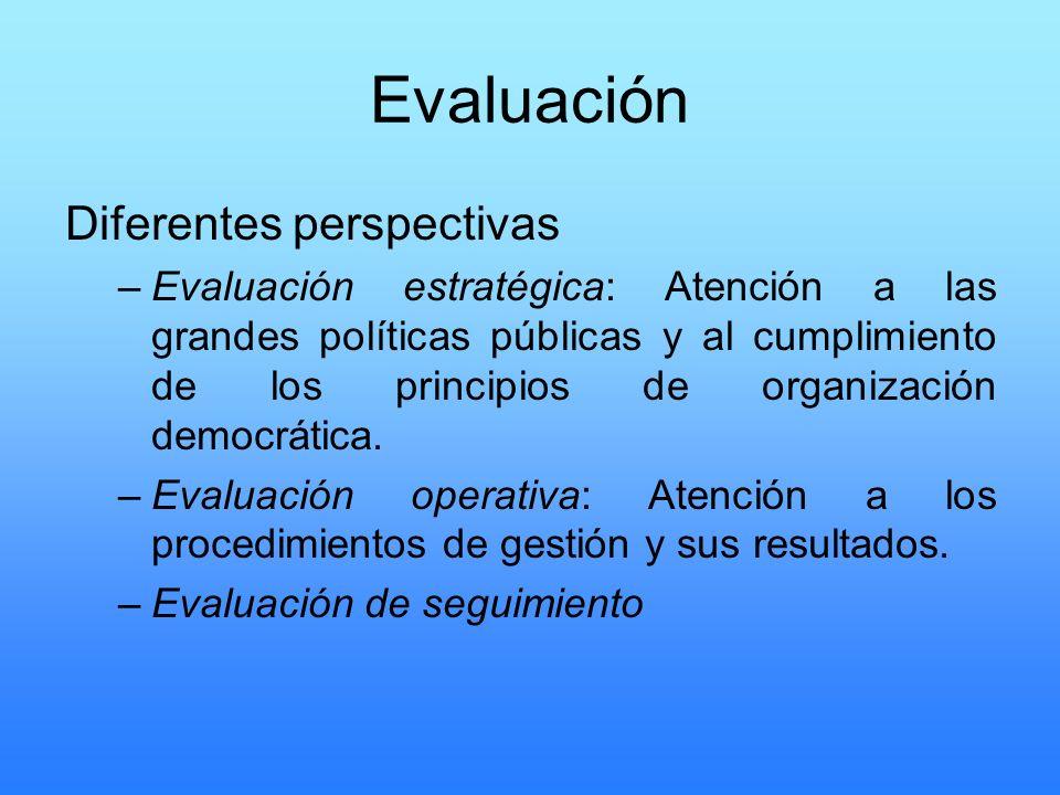 Evaluación Diferentes perspectivas –Evaluación estratégica: Atención a las grandes políticas públicas y al cumplimiento de los principios de organizac