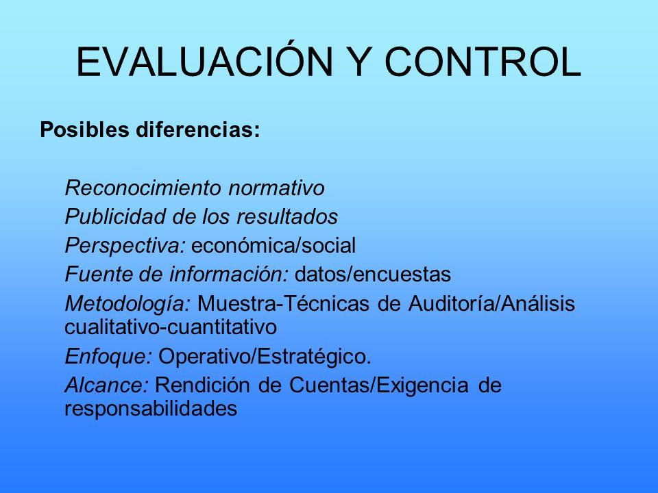 EVALUACIÓN Y CONTROL Posibles diferencias: Reconocimiento normativo Publicidad de los resultados Perspectiva: económica/social Fuente de información: