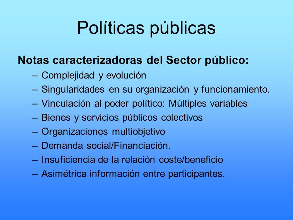 Políticas públicas Notas caracterizadoras del Sector público: –Complejidad y evolución –Singularidades en su organización y funcionamiento. –Vinculaci