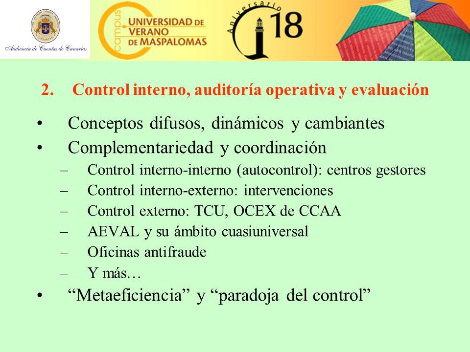 2.Control interno, auditoría operativa y evaluación Conceptos difusos, dinámicos y cambiantes Complementariedad y coordinación –Control interno-interno (autocontrol): centros gestores –Control interno-externo: intervenciones –Control externo: TCU, OCEX de CCAA –AEVAL y su ámbito cuasiuniversal –Oficinas antifraude –Y más… Metaeficiencia y paradoja del control